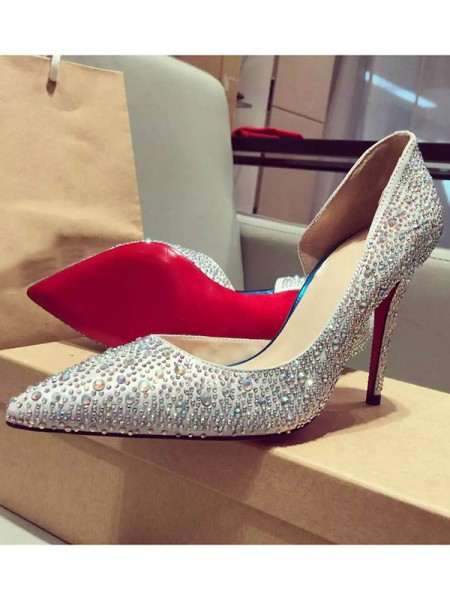 The Most Trendy Women's Satin Closed Toe Stiletto Heel With Rhinestone High Heels
