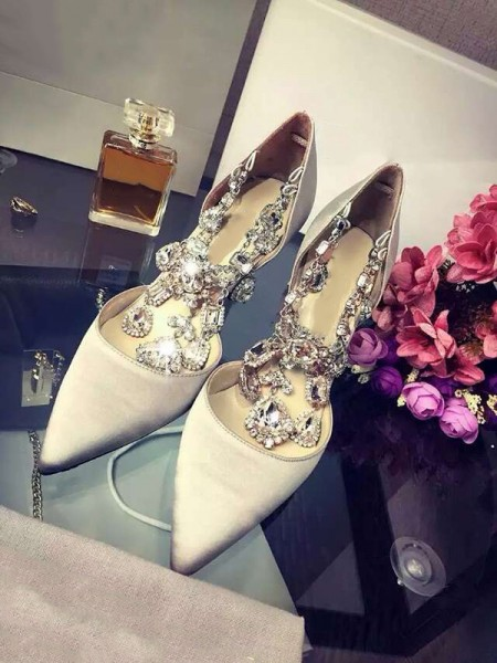 The Most Trendy Women's Closed Toe Satin Stiletto Heel With Rhinestone Chain High Heels