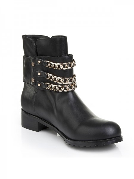 The Most Fashionable Women's Cattlehide Leather Kitten Heel With Chain Booties/Ankle Black Boots