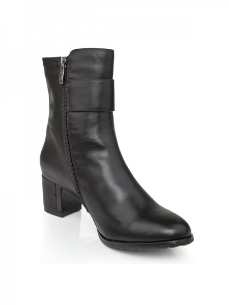 The Most Trendy Women's Cattlehide Leather Chunky Heel With Zipper Booties/Ankle Black Boots