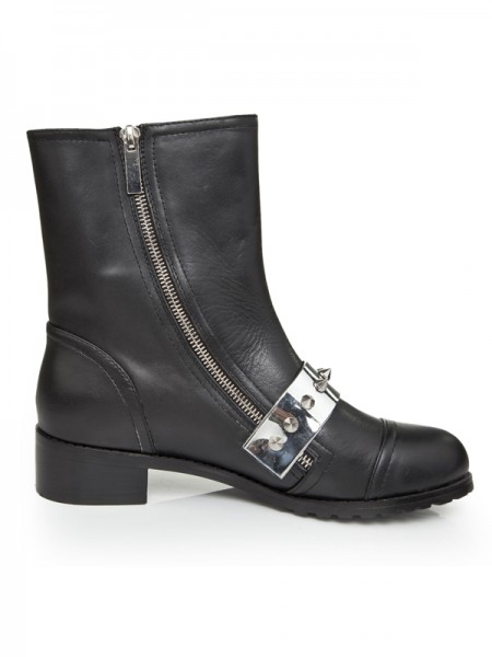 The Most Trendy Women's Cattlehide Leather Kitten Heel With Rivet Mid-Calf Black Boots