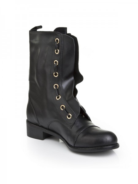 Fashion Trends Women's Cattlehide Leather With Lace-up Kitten Heel Mid-Calf Black Boots