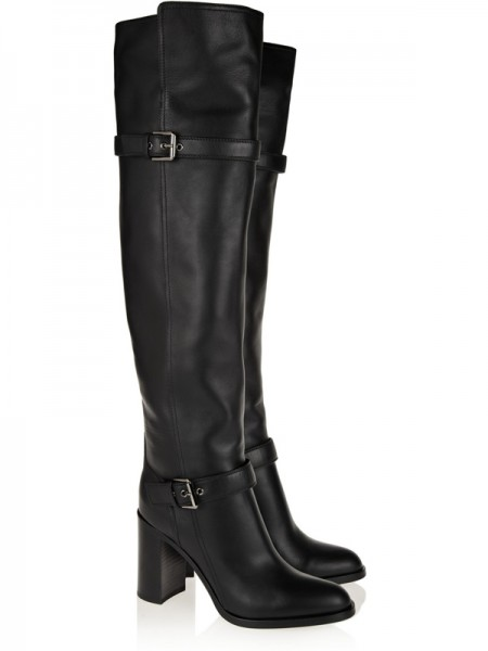 Fashion Trends Women's Chunky Heel Cattlehide Leather With Buckle Knee High Black Boots