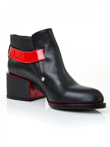 The Most Stylish Women's Kitten Heel Closed Toe Cattlehide Leather With Buckle Red Booties