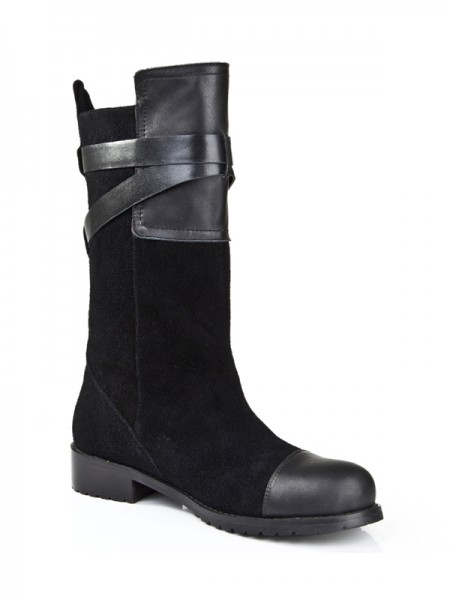 The Most Stylish Women's Suede Kitten Heel Closed Toe With Buckle Mid-Calf Black Boots
