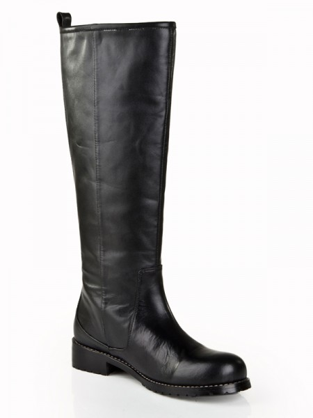 The Most Fashionable Women's Cattlehide Leather Kitten Heel Closed Toe With Zipper Mid-Calf Black Boots