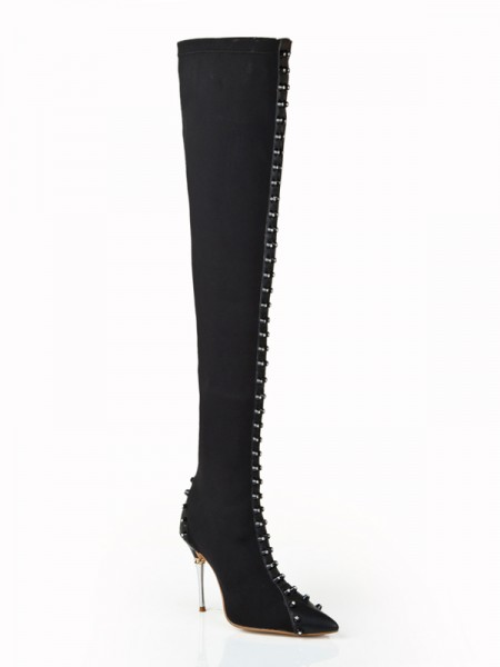 The Most Fashionable Women's Elastic Leather Stiletto Heel With Rhinestone Over The Knee Black Boots