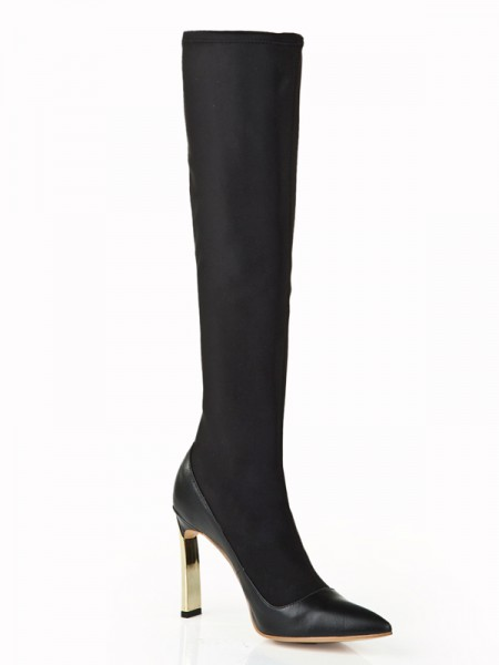 The Most Fashionable Women's Elastic Leather Stiletto Heel With Pearl Knee High Black Boots