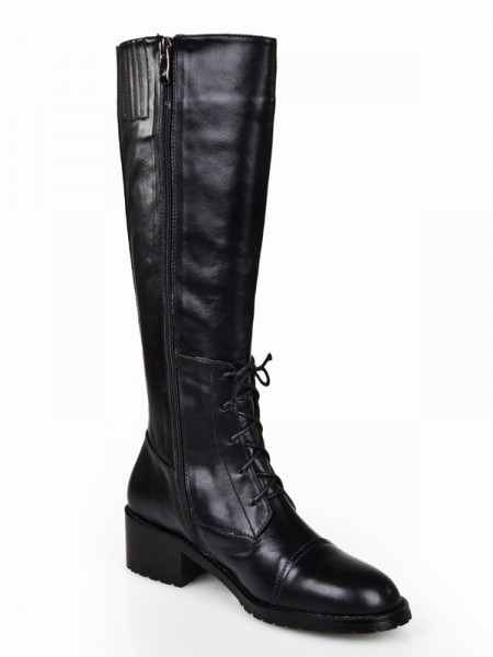 The Most Trendy Women's Cattlehide Leather Kitten Heel Closed Toe With Zipper Knee High Black Boots