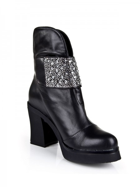 The Most Trendy Women's Cattlehide Leather Chunky Heel Platform With Rhinestone Mid-Calf Black Boots