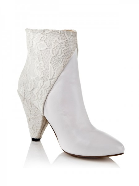 Fashion Trends Women's Cattlehide Leather Net Cone Heel With Lace Ankle White Boots