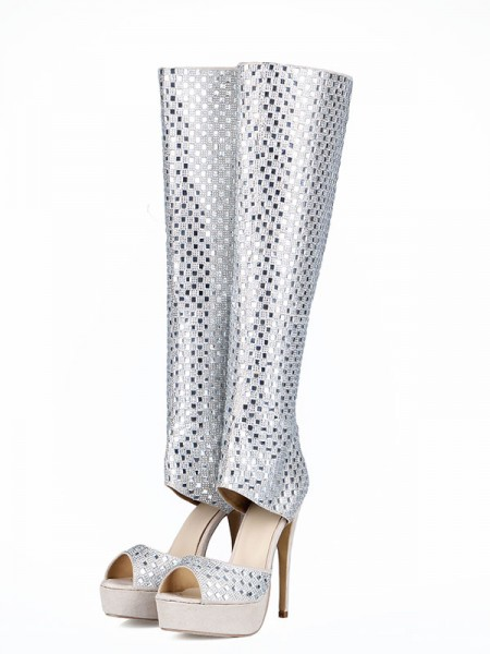 The Most Fashionable Women's Flock Peep Toe Stiletto Heel Rhinestones Boots