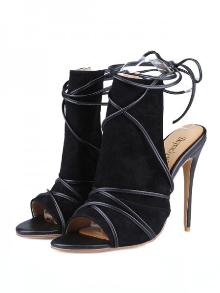 The Most Fashionable Women's Peep Toe Suede Stiletto Heel With Buckle Sandals Shoes