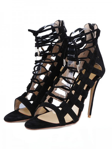 The Most Fashionable Women's Suede Stiletto Heel Peep Toe With Buckle Sandals Shoes