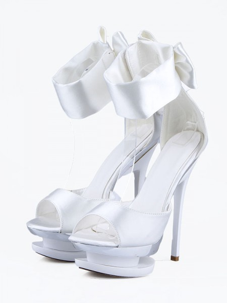 The Most Fashionable Women's Satin Stiletto Heel Peep Toe With Bowknot Platform High Heels
