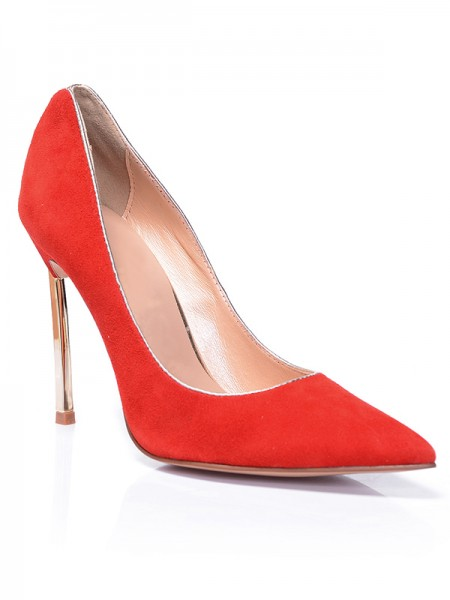 The Most Fashionable Women's Red Closed Toe Suede Stiletto Heel High Heels