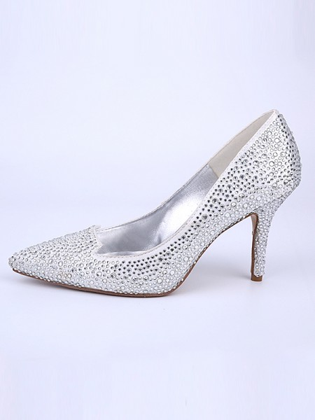 The Most Fashionable Women's Closed Toe Stiletto Heel With Crystal Silver Wedding Shoes