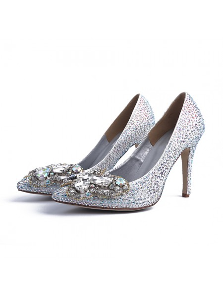 The Most Trendy Women's Closed Toe Stiletto Heel With Rhinestone Silver Wedding Shoes