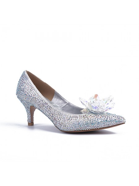 The Most Trendy Women's Closed Toe Cone Heel With Crystal Flower Silver Wedding Shoes