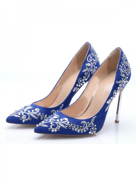 The Most Fashionable Women's Suede Closed Toe Stiletto Heel With Embroidery High Heels