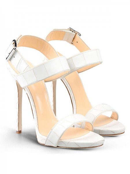 The Most Stylish Women's Peep Toe Stiletto Heel Cattlehide Leather With Buckle Party Sandals Shoes