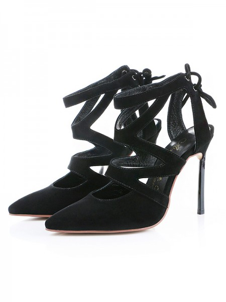 Fashion Suede Closed Toe Stiletto Heel Sandals For Women