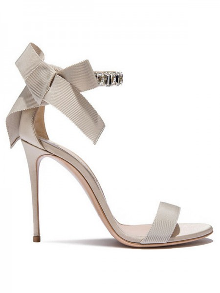 Stylish Satin Peep Toe Stiletto Heel Sandals For Women
