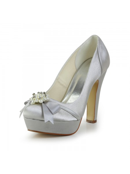 The Most Stylish Women's Satin Chunky Heel Closed Toe Platform Silver Wedding Shoes With Bowknot