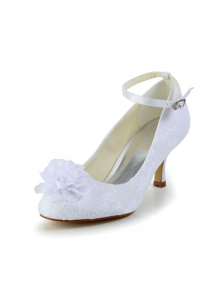 Fashion Trends Women's Satin Closed Toe White Wedding Shoes With Flower Buckle