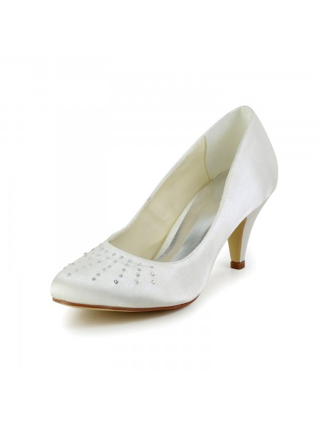 Fashion Trends Women's Satin Closed Toe Cone Heel Ivory Wedding Shoes With Rhinestone