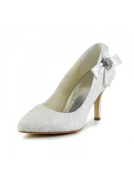 The Most Fashionable Women's Satin Stiletto Heel Closed Toe Pumps White Wedding Shoes With Rhinestone
