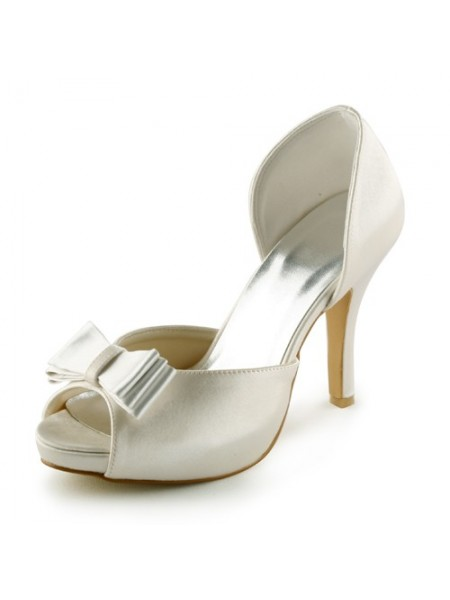 The Most Fashionable Women's Satin Stiletto Heel Peep Toe Platform Sandals Ivory Wedding Shoes With Bowknot