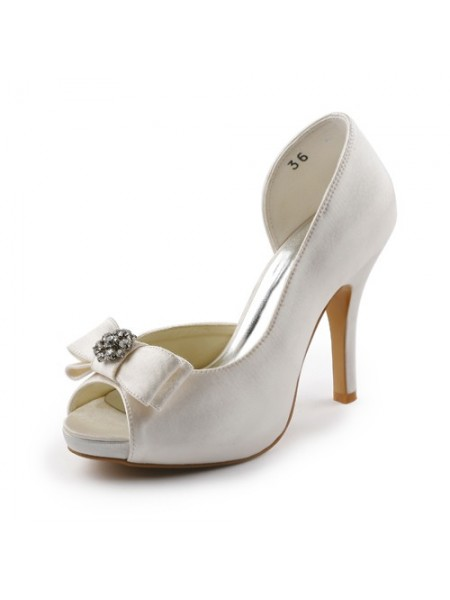 The Most Fashionable Women's Satin Stiletto Heel Peep Toe Platform Ivory Wedding Shoes With Bowknot