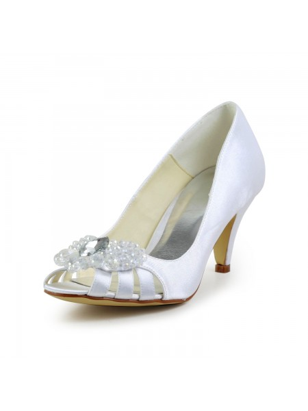 The Most Fashionable Women's Satin Cone Heel Peep Toe Sandals White Wedding Shoes With Hollow-out