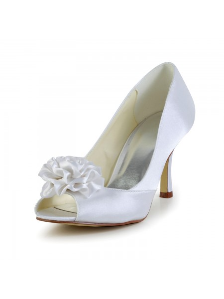 The Most Fashionable Women's Satin Stiletto Heel Peep Toe White Wedding Shoes With Flower