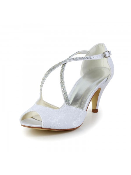 The Most Stylish Women's Satin Cone Heel Peep Toe Sandals White Wedding Shoes With Rhinestone Buckle