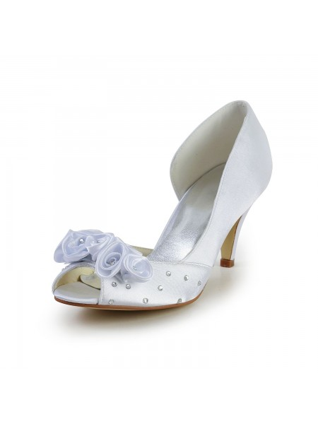 Fashion Trends Women's Satin Cone Heel Peep Toe White Wedding Shoes With Flower Rhinestone