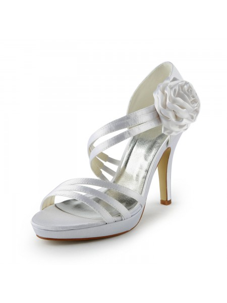 The Most Fashionable Women's Satin Stiletto Heel Platform Sandals White Wedding Shoes With Flower