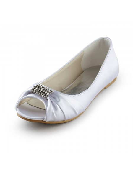 The Most Stylish Women's Satin Flat Heel Peep Toe Sandals White Wedding Shoes With Rhinestone