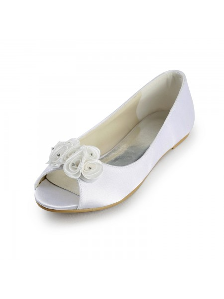 The Most Stylish Women's Satin Flat Heel Peep Toe Sandals White Wedding Shoes With Satin Flower