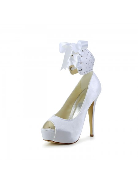 The Most Trendy Women's Satin Peep Toe Stiletto Heel With Bowknot White Wedding Shoes