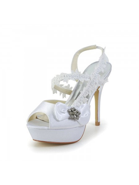 The Most Trendy Women's Satin Peep Toe Stiletto Heel White Shoes With Wedding Bowknot