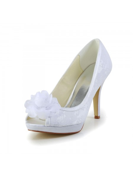 The Most Trendy Women's Satin Peep Toe Stiletto Heel White Wedding Shoes With Flower
