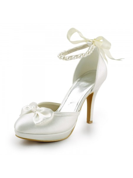 The Most Fashionable Women's Satin Stiletto Heel Closed Toe Platform Pumps White Wedding Shoes With Bowknot