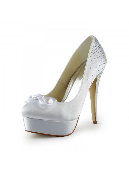 The Most Stylish Women's Satin Stiletto Heel Closed Toe Platform White Wedding Shoes With Bowknot