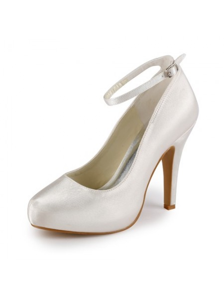 The Most Fashionable Women's Satin Stiletto Heel Closed Toe Platform Ivory Wedding Shoes With Buckle