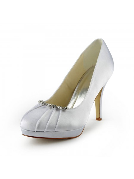 The Most Stylish Women's Satin Stiletto Heel Closed Toe Platform White Wedding Shoes With Rhinestone