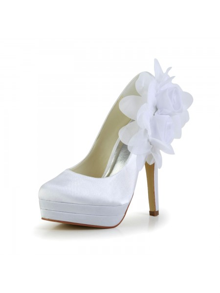 The Most Fashionable Women's Satin Stiletto Heel Closed Toe Platform Pumps White Wedding Shoes With Satin Flower