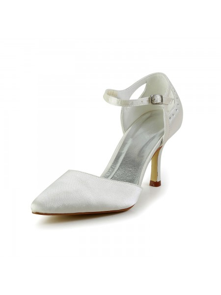 The Most Fashionable Women's Satin Stiletto Heel Closed Toe Pumps White Wedding Shoes