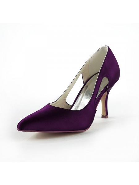 The Most Trendy Women's Satin Stiletto Heel Closed Toe Pumps Grape Wedding Shoes